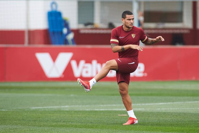 Rony Lopes in action during the training session of Sevilla Futbol Club at Jose Ramon Cisneros Palacios Sport City on July 20, 2021 in Sevilla, Spain.