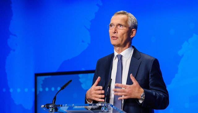 HANDOUT - 17 August 2021, Belgium, Brussels: Jens Stoltenberg, Secretary General of North Atlantic Treaty Organization (NATO), speaks during an online press conference on the situation in Afghanistan, at the NATO headquarters in Brussels. Photo: -/NATO/dp
