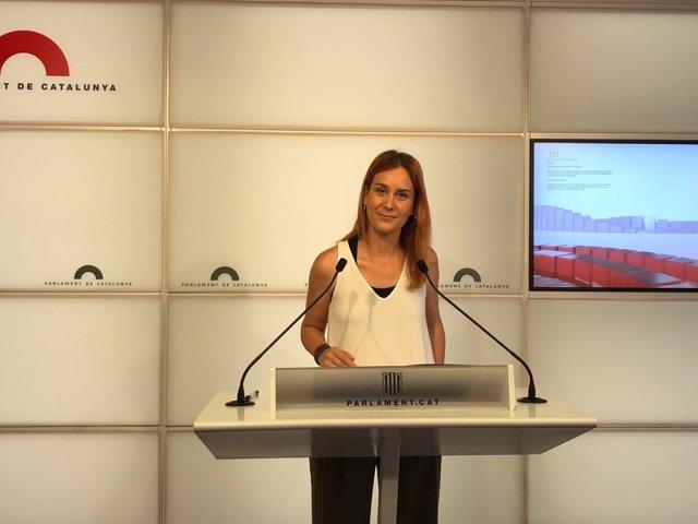Archivo - Arxivo - La líder dels comuns en el Parlament, Jéssica Albiach, en roda de premsa en la Càmera catalana, a Barcelona, a 22 de juny de 2021.