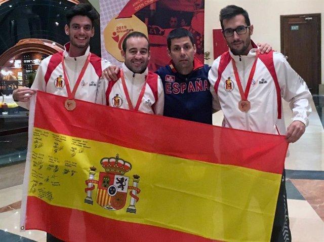 Archivo - Los taekwondistas españoles Aythami Santana, Alex Vidal y Gabriel Amado
