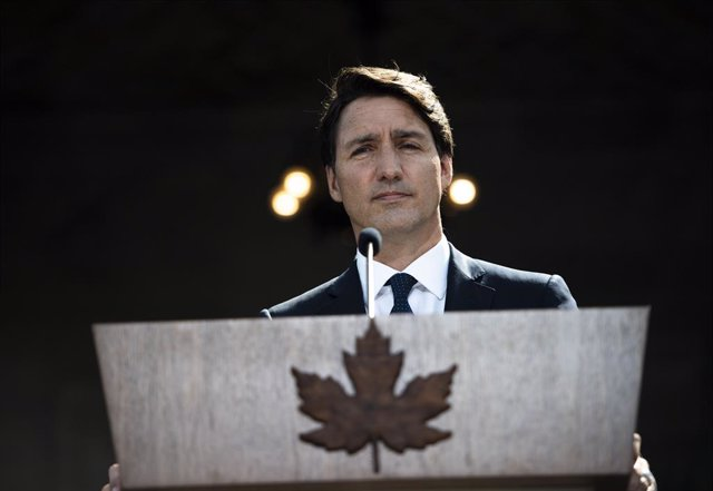 15 August 2021, Canada, Ottawa: Canadian Prime Minister Justin Trudeau speaks during a press conference after a meeting with Governor General Mary Simon at Rideau Hall in Ottawa. Trudeau announced that early elections would take place September 20 as he s