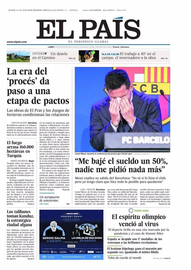 Portada de El País del 9 de agosto de 2021