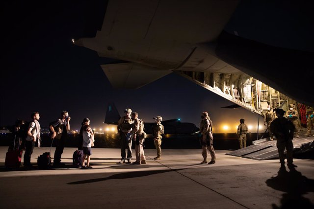 A supplied image obtained on Wednesday, August 18, 2021, of The first Australian Defence Force evacuation flight which has departed Kabul with 26 persons on board. A RAAF C-130 Hercules has successfully evacuated 26 people from Kabul airport, which was en