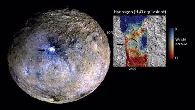 El estudio se centró en el cráter Occator (izquierda), que contiene los puntos brillantes más prominentes de Ceres.