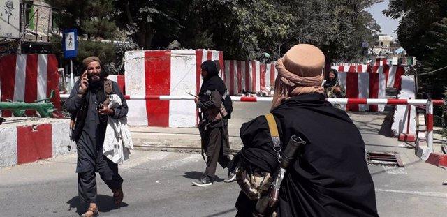 Membres dels talibà després de la presa de la ciutat de Ghazni, capital de la província homònima, en l'est de l'Afganistan