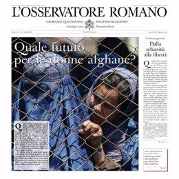 Portada del periódico del Vaticano L'Osservatore Romano