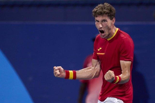 El tenista español Pablo Carreño celebra un triunfo en los Juegos Olímpicos de Tokyo 2020.