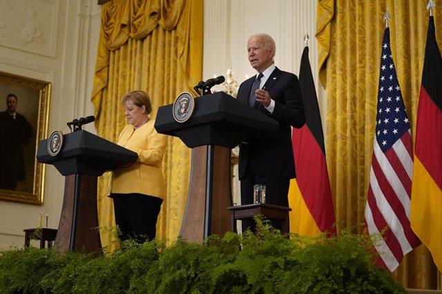 La canciller alemana, Angela Merkel, y el presidente de Estados Unidos, Joe Biden, en una imagen de archivo.