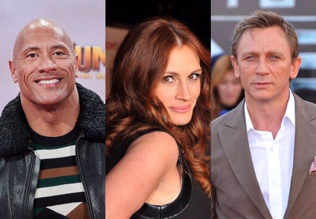Dwayne Johnson, Julia Roberts y Daniel Craig, entre los mejor pagados de Hollywood