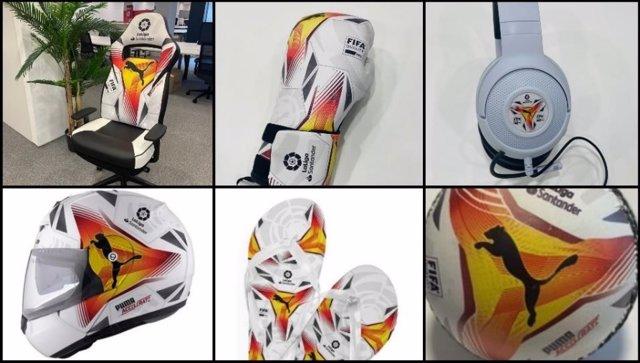 Regalos enviados por LaLiga a algunos protagonistas de la campaña 'Volvemos a cantar gol', que celebra el inicio de LaLiga Santander 2021/22, con el diseño del balón oficial de la competición