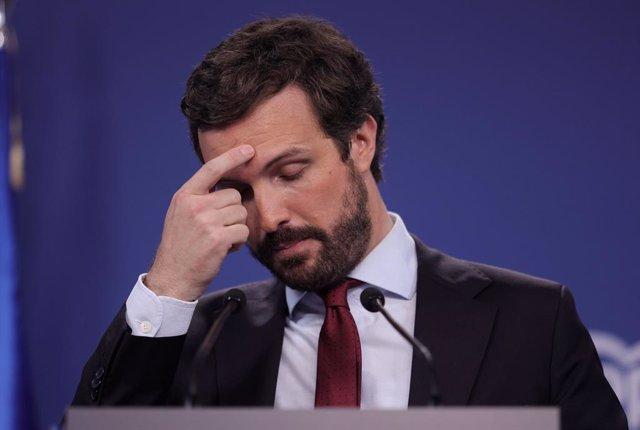El president del PP, Pablo Casado, durant una roda de premsa a la seu del partit, a 29 de juliol de 2021, a Madrid (Espanya).