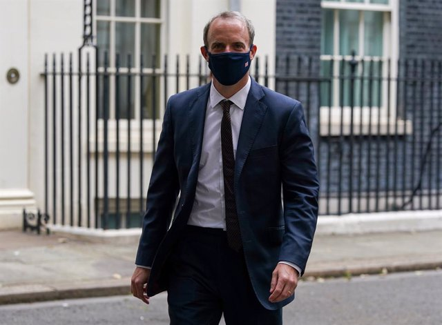 16 August 2021, United Kingdom, London: UKForeign Secretary Dominic Raab leaves Downing Street, after attending a Cobra meeting with Prime Minister Boris Johnson on the situation in Afghanistan. Photo: Kirsty O'connor/PA Wire/dpa