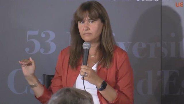 La presidenta del Parlament, Laura Borràs, en la UCE de Prada de Conflent (França)
