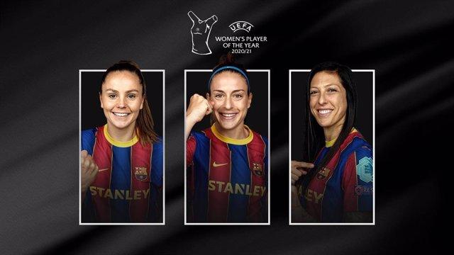 Lieke Martens, Alexia Putellas y Jennifer Hermoso, tres jugadoras del Barça Femení que copan las candidatuas a Jugadora del año 2021 de la UEFA