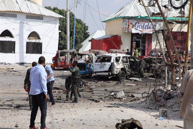 Imagen de archivo de un atentado con coche bomba en Mogadiscio, Somalia