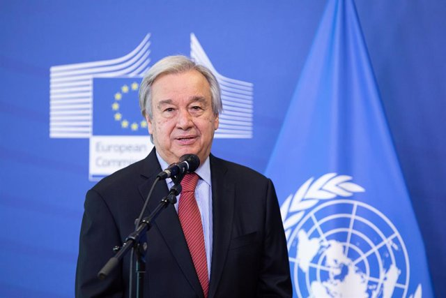 Archivo - FILED - 23 June 2021, Belgium, Brussels: UN Secretary General Antonio Guterres speaks during a press conference at the European Commission. Photo: -/European Commission /dpa - ATTENTION: editorial use only and only if the credit mentioned above