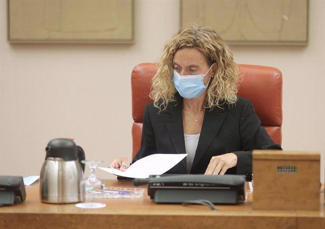 La presidenta del Congrés dels Diputats, Meritxell Batet, en una reunió de la Diputació Permanent