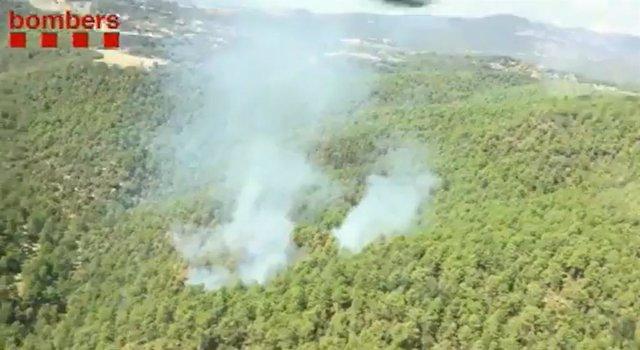Imatge de l'incendi de Baronia de Rialb (Lleida)