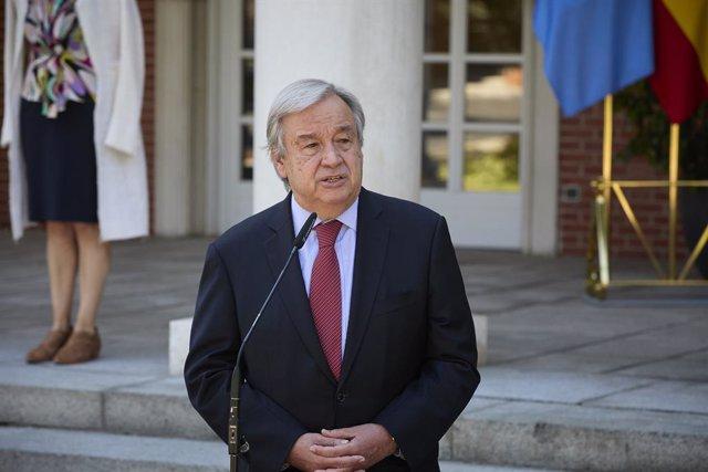 Archivo - El secretario general de Naciones Unidas, Antonio Guterres, interviene en una rueda de prensa posterior a una reunión con el presidente del Gobierno, 2 de julio de 2021, en el Palacio de La Moncloa, Madrid. (España). El encuentro entre ambos man