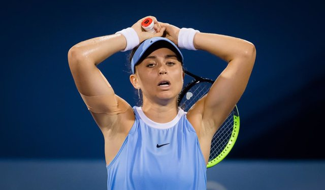 Paula Badosa of Spain in action during her third round match at the 2021 Western & Southern Open WTA 1000 tennis tournament against Elena Rybakina of Kazakhstan
