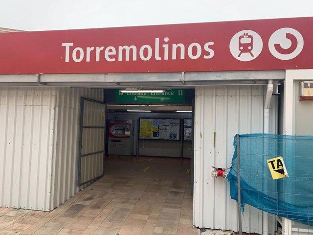 Estación en obras del Cercanías de Torremolinos (Málaga) para hacerla accesible