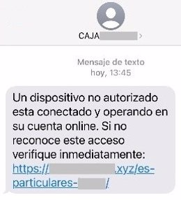 Imagen del SMS.