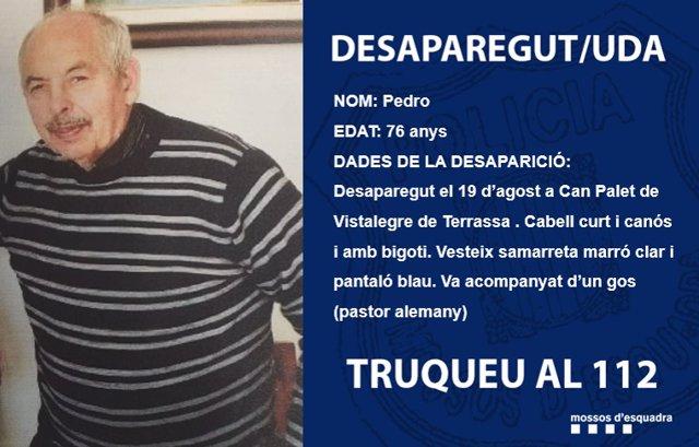 Descripció difosa pels Mossos d'Esquadra del desparecido a Terrassa (Barcelona)