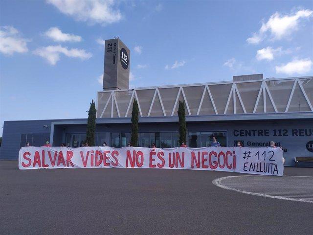 Roda de premsa del comitè de vaga dels treballadors del servcio d'atenció 112 de Catalunya