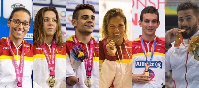 Los deportistas españoles Teresa Perales, Nuria Marqués, Óscar Salguero, Michelle Alonso, Gerard Descarrega y Kim López
