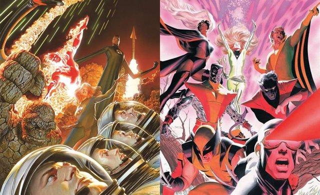 Los Cuatro Fantásticos y los X-Men dibujados por Alex Ross