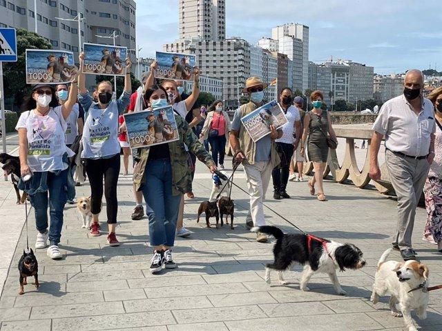 Concentración en el paseo de Riazor para pedir el libre acceso de los perros a los arenales