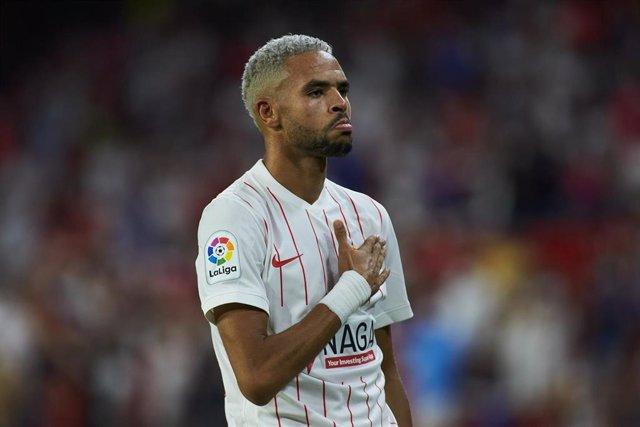 Youssef En-Nesyri, delantero del Sevilla FC, celebra un gol ante el Rayo Vallecano en la primera jornada de Liga