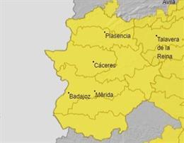 Archivo - Avisos amarillos en Extremadura para este lunes.
