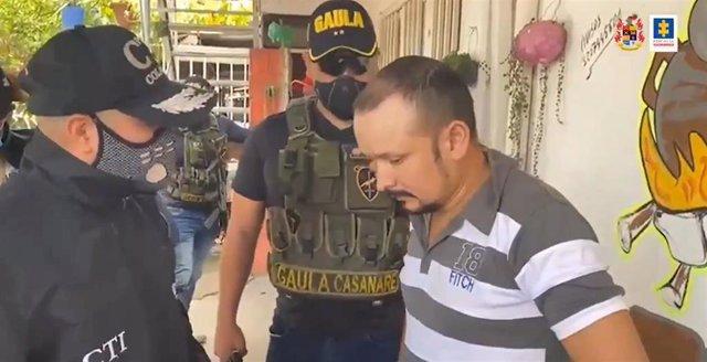 Detención del expolicía Wilmer Alarcón por parte de la Fiscalía y Gaula de Colombia