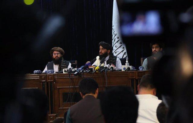 Roda de premsa dels talibà a Kabul.