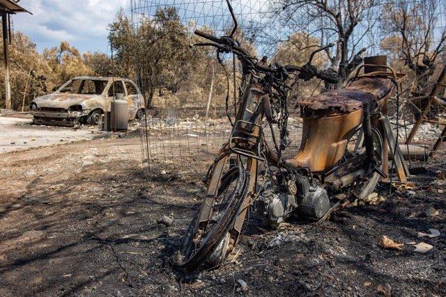 Danys pels incendis a la illa grega d'Eubea
