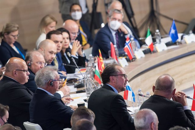 23 August 2021, Ukraine, Kiev: Austrian Foreign Minister Alexander Schallenberg (2nd R) speaks during the Crimea Platform summit. Photo: Michael Gruber/BMEIA via APA/dpa