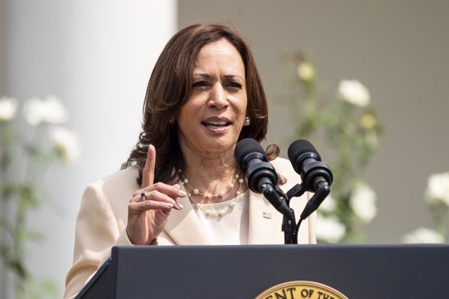 26 July 2021, US, Washington: USVice President Kamala Harris speaks at the White House celebration of the 31st anniversary of the Americans with Disabilities Act. Photo: Michael Brochstein/ZUMA Press Wire/dpa