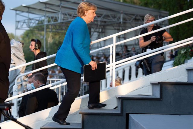 23 August 2021, North Rhine-Westphalia, Duesseldorf: German Chancellor Angela Merkel attends an event to celebrate the 75th anniversary of the foundation of the State of North Rhine-Westphalia. Photo: Federico Gambarini/dpa