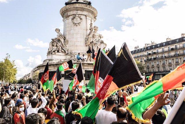 Manifestación en París en solidaridad con Afganistán