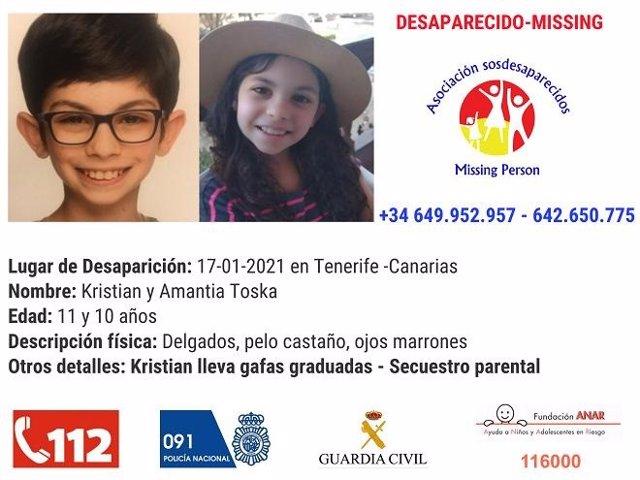 Cartell amb la foto dels nens alemanys desapareguts