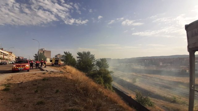 Terrenos de Adif afectados por el fuego en Cuenca.