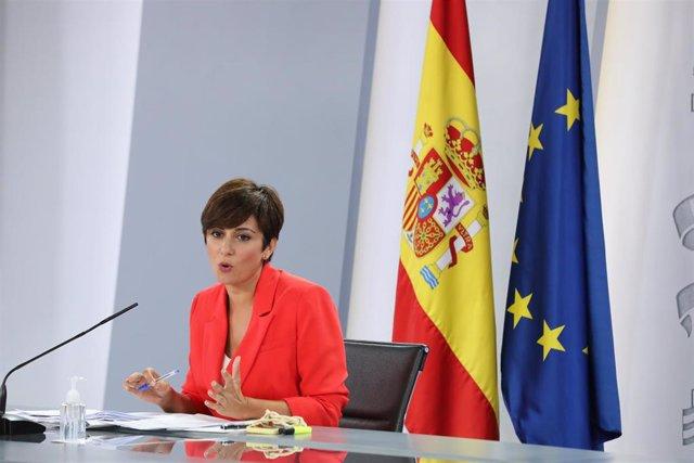 La ministra Portavoz, Isabel Rodríguez, interviene en una rueda de prensa posterior al Consejo de Ministros