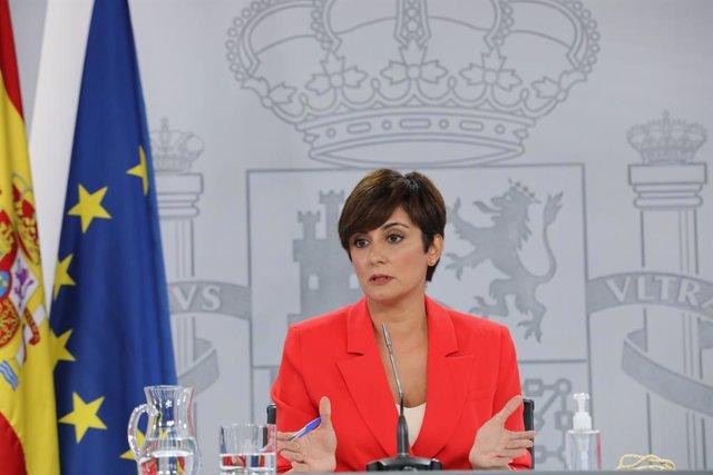 La ministra Portaveu, Isabel Rodríguez, intervé en una roda de premsa posterior al Consell de Ministres, a 24 d'agost de 2021