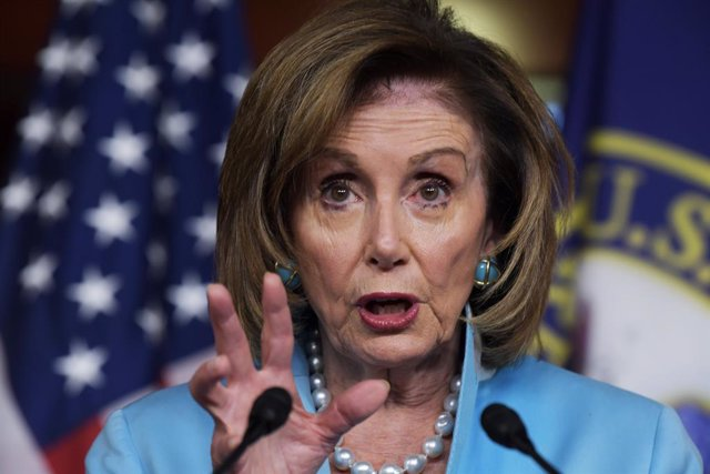 06 August 2021, US, Washington: US House Speaker Nancy Pelosi holds her weekly press conference at Capitol Hill in Washington. Photo: Lenin Nolly/ZUMA Press Wire/dpa