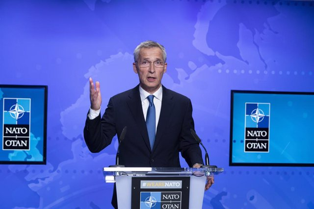 HANDOUT - 20 August 2021, Belgium, Brussels: Secretary General of North Atlantic Treaty Organization (NATO) Jens Stoltenberg speaks during a press conference following the extraordinary meeting of NATO Ministers of Foreign Affairs on the situation in Afgh