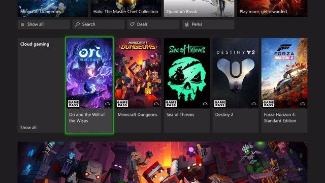 Juego en la nube de Xbox Games Pass.