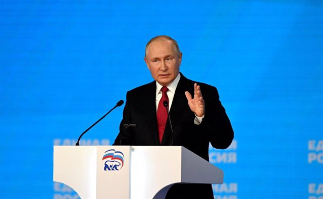 HANDOUT - 24 August 2021, Russia, Moscow: Russian President Vladimir Putin delivers a speech during the 20th United Russia party congress. Photo: -/Kremlin/dpa - ATTENTION: editorial use only and only if the credit mentioned above is referenced in full
