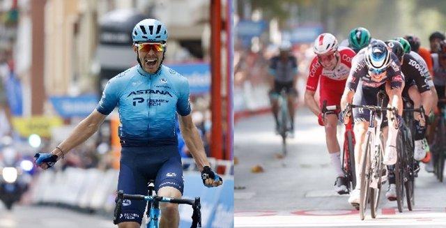 Alex Aranburu (Astana), izquierda, y Jasper Philipsen (Alpecin Fenix), derecha, abandonan La Vuelta 2021 tras la décima etapa