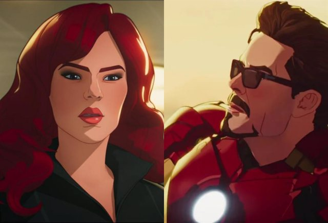 Viuda Negra y Tony Stark en What if...?